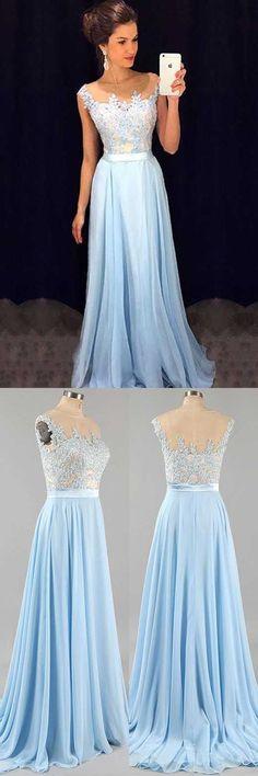 Light Sky Blue Prom Dresses, Appliques Prom Dress,A Line Prom Gown,Long Formal Dresses,Evening Dresses,Prom DressPRR