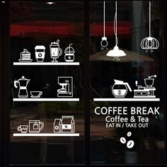 Milk tea Coffee Shop Cafes Ice Cream Bread Cake Kitchen Wall Art Sticker Decal DIY Home Decoration Mural Decor Mural Cafe, Cafe Wall, Cafeteria Menu, Cafe Window, Coffee Wall Art, Motif Acnl, Decoration Vitrine, Coffee Shop Design, Cafe Shop