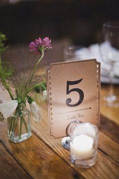 simple table number. © Khaki Bedford Photography www.khakibedfordphoto.com