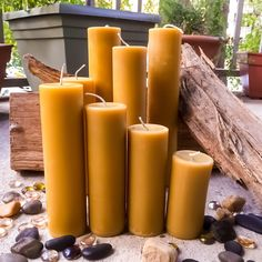 Set of 4 pure beeswax Pillar wide organic beeswax handmade solid beeswax pillars Beeswax Candles, Candle Wax, Pillar Candles, Small Bees, Natural Candles, Hurricane Lamps, Natural Honey, All The Way Down, Burning Candle