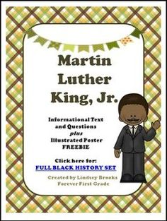 "FREE SOCIAL STUDIES LESSON - ""Martin Luther King, Jr. Informational Text and Poster FREEBIE"" - Go to The Best of Teacher Entrepreneurs for this and hundreds of free lessons. 1st - 3rd Grade   http://thebestofteacherentrepreneursiv.blogspot.com.co/2016/12/free-social-studies-lesson-martin.html"