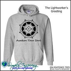 Lightworker's Greeting Kryon Symbol Awaken Your Soul Enlightenment New Age Hoody Sweatshirt grey