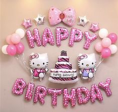 Hello Kitty Kids Happy Birthday Balons Party Decoration Set Balloons Foil Pink and Blue Globes Decor Party Supplies Baloes Hello Kitty Birthday Theme, Birthday Wishes For Kids, Hello Kitty Themes, Happy Birthday Pictures, Happy Birthday Greetings, Birthday Parties, Birthday Quotes, Hello Kitty Cake, Birthday Ideas