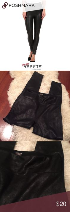 "Assets by Spanx Metallic Wash Faux Leather Legging Assets by Spanx Metallic Wash Faux Leather Legging. 12"" rise. High rise. 31"" inseam. Great stretch. Bought and just never wore. Feel free to make an offer or bundle & save! Assets By Spanx Pants Leggings"