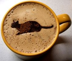 .·:*¨¨*:Coffee♥Art:*¨¨*: #Cat #latte #coffee