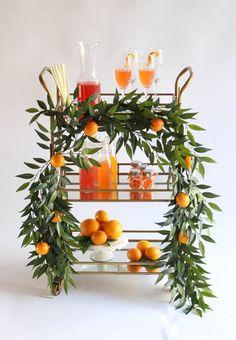 Orange Crush: A Citrus Inspired Bar Cart for Summer -Beau-coup Blog Diy Bar Cart, Gold Bar Cart, Bar Cart Styling, Bar Cart Decor, Bar Carts, Event Styling, Baby Shower, Bridal Shower, Party Decoration