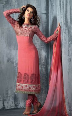 PINK GEORGETTE EMBROIDRED SALWAR KAMEEZ - SLF 9664