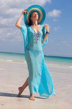 Vibrant Gem Stone Kaftan preorder Small and Medium Ref ID Beach Outfits Women Vacation, Spring Outfits Women, Summer Outfits, Blazer Outfits, Chic Outfits, Dress Over Pants, Beach Dresses, Bikini Fashion, Beachwear