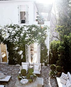 Mark D. Sikes & Michael Griffin's - outdoor patio 1920's Los Angeles home. Published House Beautiful Dec/Jan 2012