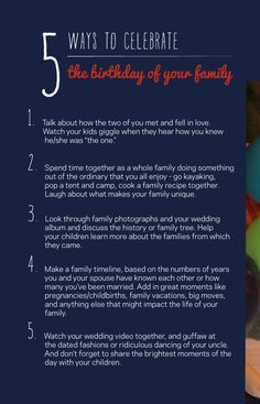 celebrate your anniversary as your family's birthday. love this! | pars caeli.