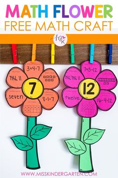 Practice math fluency with these spring flowers. Choose the number to go in the center and place in math centers for kids to complete independently. Great hallway display. Ten frames - numerals - tall marks - dots - addition - subtraction - crafts for kindergarten. Kindergarten Math Activities, Preschool Math, Math Classroom, Teaching Math, Maths, Classroom Crafts, Teaching Ideas, Math Crafts, Math Projects