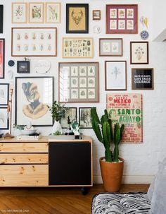 Tijolinhos brancos, piso de madeira, cacto e móvel de pinus compõem essa sala de estar.