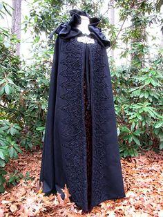 Wool Kinsale cloak with lace trim.
