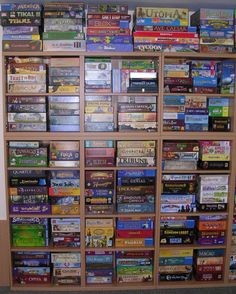 This is intense right here! I'm a big fan of of your choices, amazing collection. 3 Years ago now, I have to wonder much bigger can you get. TB Spiel : Boardgames in the UK Board Game Organization, Board Game Storage, Fun Board Games, Game Bit, Playing Card Games, Square Photos, Photo Checks, Tabletop Games, Humble Abode