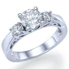 Three Stone Round Cut Diamond Engagement Ring by ldiamondsforever