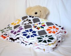 Crochet scrap yarn afghan white border colorful throw blanket octagons grey granny squares wheels colorful home decor bedding washable