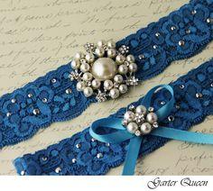 VioGemini | Bridal Garter Wedding Garter Set Something Blue Stretch Lace Keepsake and Toss Garters, Rhinestone and Crystal garters | Online Store Powered by Storenvy