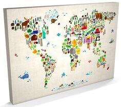 Kids Canvas Art, Canvas Art Prints, Map Canvas, Mural Painting, Mural Art, Wall Mural, Kids World Map, Safari Nursery, Beige Background