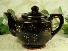 Mini Brown Ceramic Japanese Teapot have lots of these different sizes in our shoppe #teapotsntreasures  www.teapots4u.com