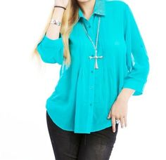 LAST+ONE+IN+STOCK!!+Plus+Size+Embroidered+Button+Down+Blouse+Top