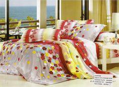 AlyShop: Lenjerie din bumbac ranforce pentru pat dublu multicolora cu flori