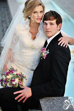 Wedding Hair Style | Modest Lace Wedding Dress  | Long Lace Sleeves | Simply Elegant | simplyelegantforyou.com