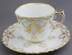 Aynsley Tea Cup and Saucer Blue Gold on White