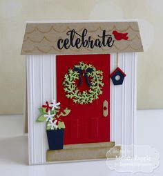 Happy of July to all my US Friends! I have a patriotic themed card to share that I created with the Taylored Expressions Door to Door. Christmas Cards To Make, Xmas Cards, Diy Cards, Christmas Crafts, New Home Cards, House Of Cards, Housewarming Card, Honey Bee Stamps, Window Cards