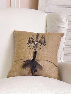 Shabby Chic Burlap Pillows : 1000+ images about Interiors - burlap and glitter on Pinterest Burlap, Burlap chair and Burlap ...