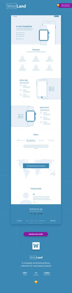 Wireland – is a Complete Wireframing Library Collection optimized to structure web design projects really fast and easy while getting great results. This library consist on 190+ ready-to-use layout sections divided into 15 popular content categories.  Excellent for Landing Pages and any kind of Web design Projects.
