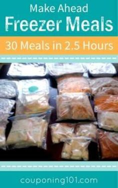 My Freezer Cooking Experience: 30 Meals in Hours! How I made 30 freezer meals in hours! Great ideas for cook once, eat twice, plus how to do a meal swap with friends. Budget Freezer Meals, Make Ahead Freezer Meals, Crock Pot Freezer, Frugal Meals, Easy Meals, Inexpensive Meals, Dump Meals, Bulk Cooking, Cooking For Two