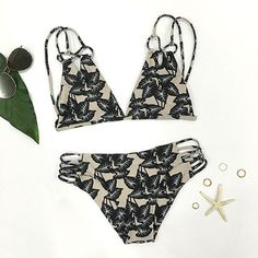 Cupshe The Fall Floral Black Leaves Bikini Set