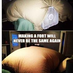 Inflating a blanket fort with a box fan.