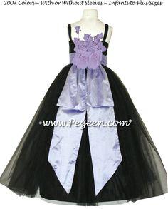 e8a2c5fda Black silk, tulle and lilac Silk Jr. Bridesmaids or Custom Flower Girl  Dresses by