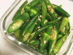 オクラのナムルの画像 Japanese Side Dish, Japanese Diet, Japenese Food, Healthy Cooking, Cooking Recipes, Clean Recipes, Food Plating, Vegetable Recipes, Summer Recipes