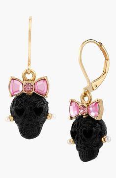 WANT!! Betsey Johnson Bow & Lace Skull Drop Earrings | Nordstrom