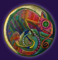 The Lizard Mandala  shamanic mandala Spiritual Art Print