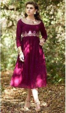 Purple Color Georgette A-line Style Embroidery Readymade Kurtis   FH558083289