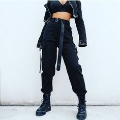 Streetwear Cargo Pants Women Casual Joggers Black High Waist Loose Female Trousers Korean Style Ladies Pants Capri Green Black Khaki Brand Name: heyoungirlLength: Full LengthMaterial: SpandexMaterial: COTTONModel Number: Type: SolidStyl Cargo Pants Women, Trousers Women, Pants For Women, Clothes For Women, Ladies Pants, Black Clothes, Cargo Pants Outfit, Harem Pants, Women's Clothes