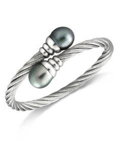 Pearl Bracelet, Stainless Steel Tahitian Cultured Freshwater Pearl Wrap Bangle (10mm)