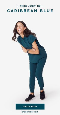No passport necessary! Introducing Caribbean Blue — our newest seasonal color and (pretty soon) your year-round favorite. It takes off in six weeks. Dental Scrubs, Medical Scrubs, Scrubs Outfit, Scrubs Uniform, Stylish Scrubs, Bridesmaid Dresses 2018, Medical Uniforms, Diy Couture, Office Outfits