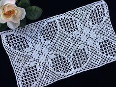 Crochet Doily Diagram, Filet Crochet Charts, Crochet Lace Edging, Crochet Square Patterns, Crochet Table Runner, Crochet Tablecloth, White Tablecloth, Crochet Curtains, Round Tablecloth
