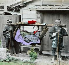 """thekimonogallery:  """"Taxi"""" in 1886 Japan. Photography by Adolpho..."""