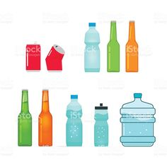 Bottles vector collection isolated on white, full and empty royalty-free stock vector art Empty Bottles, Free Vector Art, Image Now, Soda, Alcoholic Drinks, Royalty, Water Bottle, Illustration, Collection