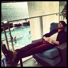 Darren Criss Relaxes Before Glee's Panel at at Comic-Con in San Diego on July 14, 2012