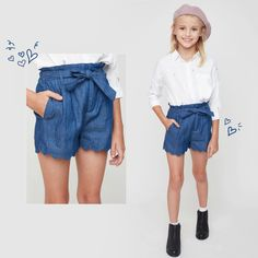 b5eaa03327 A chambray woven shorts featuring scallop hem and an attached sash tie belt  Dresses For Tweens. Hayden Girls