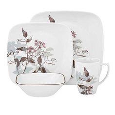 New Corelle Twilight Grove Square Dinnerware Sets For 12, Square Dinnerware Set, Casual Dinnerware, Corelle Plates, Corelle Dishes, Tableware, Square Plates, Porcelain Mugs, Dish Sets