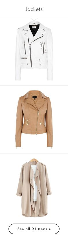 """""""Jackets"""" by mayoooxx ❤ liked on Polyvore featuring outerwear, jackets, coats, coats & jackets, white, real leather jackets, leather jackets, biker jacket, leather moto jackets and white leather jacket"""