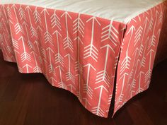 14 Any Fabric Straight Crib Skirt. White Arrows on Coral