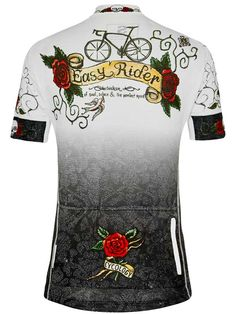 """""""Rose Tattoo"""" women's cycling jersey from Cycology. For seeker of soul, solace and the perfect road. It's out there and we find it. Women's Cycling Jersey, Cycling Jerseys, Road Cycling, Cycling Bikes, Bike Kit, Cycling Motivation, Cool Bike Accessories, Bike Style, Cycling Outfit"""